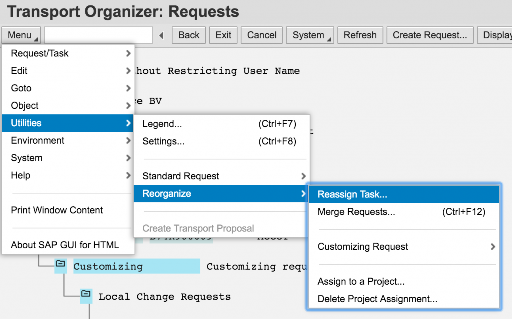 Reassign transport task to another transfer request