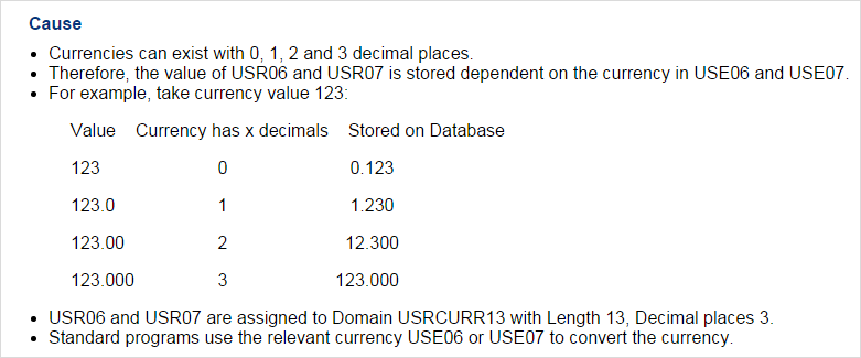 SAP Knowledge Base Article - 1646349 - Decimal Shift in User Currency Fields