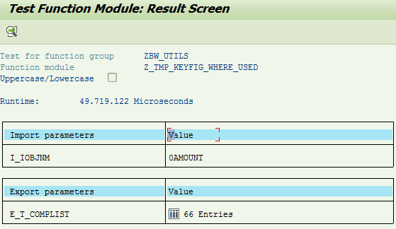 Where used key figures function module
